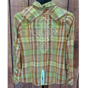 Roar Western Shirt Medium Yellow Plaid L/S Cowgirl
